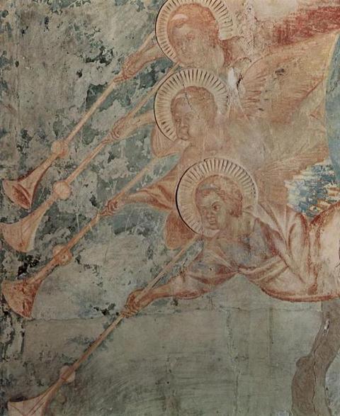 Чимабуэ--Фрески-верхней-церкви-Сан-Франческо-в-Ассизи,-южный-поперечный-неф,-сцена--Апокалипсис,-деталь--Ангел-(Откр.-20-1-13)
